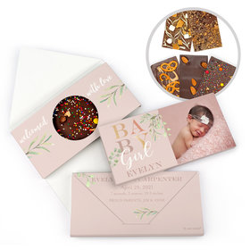 Personalized Welcome Baby Girl Birth Announcement Gourmet Infused Belgian Chocolate Bars (3.5oz)