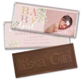 Birth Announcement Personalized Embossed Chocolate Bar Baby Girl