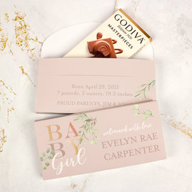 Deluxe Personalized Baby Girl Birth Announcement Godiva Chocolate Bar in Gift Box