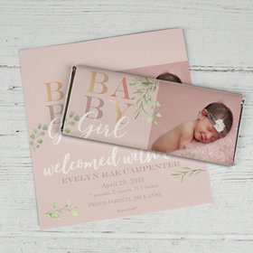 Personalized Birth Announcement Baby Girl Chocolate Bar Wrappers