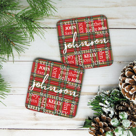 Personalized Plaid Family Monogram Cork Coaster