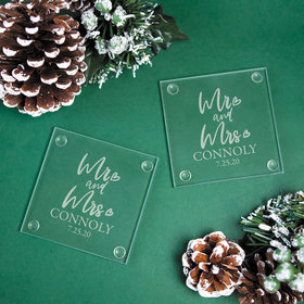 Personalized Mr & Mrs Glass Coaster