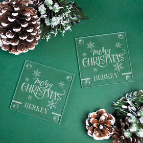 Personalized Merry Christmas Glass Coaster