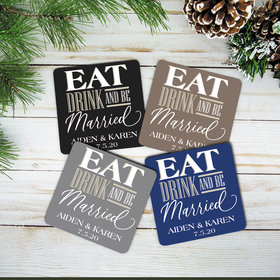 Personalized Eat Drink Married Cork Coaster (Set of 4)