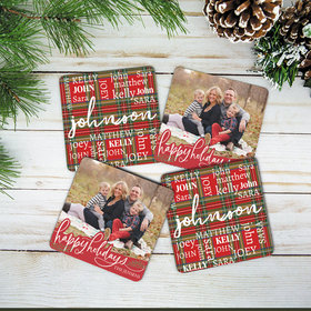Personalized Plaid Word Cloud & Happy Holidays Cork Coaster (Set of 4)
