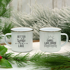 Personalized Better to Wake at the Lake White Camper Mug (11oz)