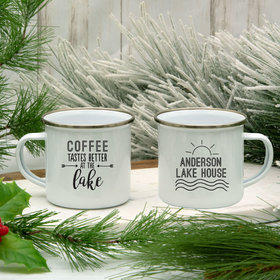 Personalized Coffee Tastes Better at the Lake White Camper Mug (11oz)