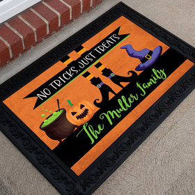 Personalized Halloween Doormat No Tricks Just Treats