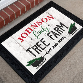 Personalized Christmas Doormat Family Tree Farm