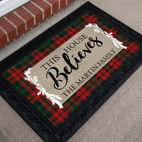 Personalized Christmas Doormat This House Believes
