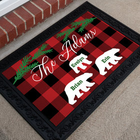 Personalized Doormat Plaid Bear Family of 3