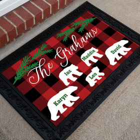 Personalized Doormat Plaid Bear Family of 5
