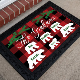 Personalized Doormat Plaid Bear Family of 6