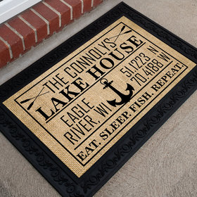 Personalized Doormat Lake House Coordinates