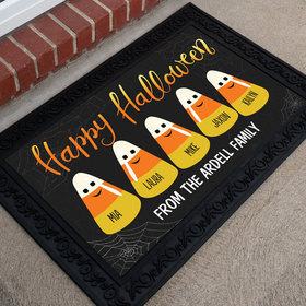 Personalized Doormat Happy Halloween Candy Corn Family of 5