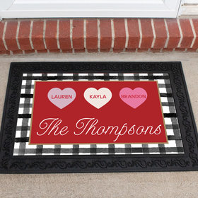 Personalized Doormat Valentine's Day Family of 3