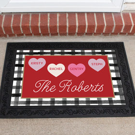 Personalized Doormat Valentine's Day Family of 4