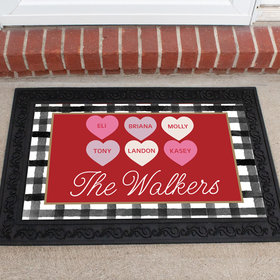 Personalized Doormat Valentine's Day Family of 6