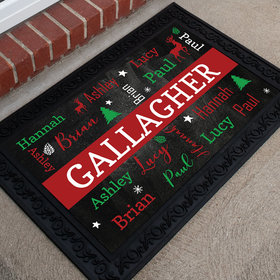 Personalized Christmas Doormat Family of 5 Christmas Cloud
