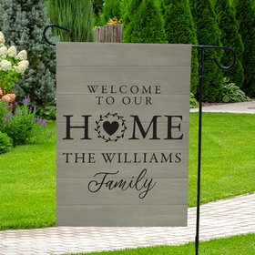 Personalized Family Welcome to Our Home Heart Wreath - Garden Flag
