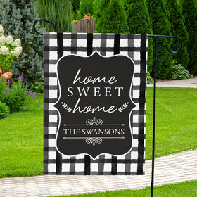 Personalized Family Home Sweet Home Plaid - Garden Flag