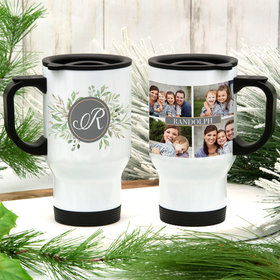 Personalized Family Name Photo Collage Stainless Steel Travel Mug (14oz)