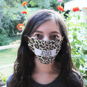 Personalized Face Mask - Leopard Name