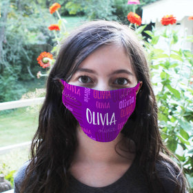Personalized Face Mask - Purple Repeating Name