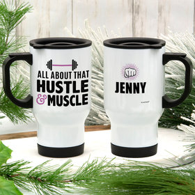 Personalized Hustle Muscle Stainless Steel Travel Mug (14oz)