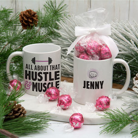 Personalized Hustle Muscle 11oz Mug with Lindt Truffles