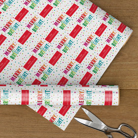 Custom Wrapping Paper - Merry and Bright Rainbow Christmas