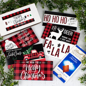 Christmas Red Plaid Candy Lindt Chocolate Bars Gift Box (6 pack)