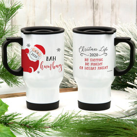 Personalized Bah Humbug Stainless Steel Travel Mug (14oz)
