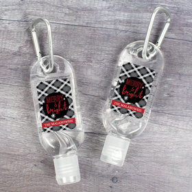 Personalized Hand Sanitizer with Carabiner Christmas 1 fl. oz bottle - Merry and Bright Plaid