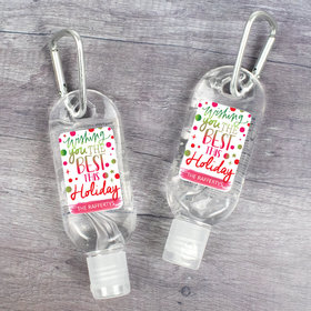Personalized Hand Sanitizer with Carabiner Christmas 1 fl. oz bottle - Wishing The Best Holiday