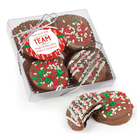 Personalized Christmas Thanks for Being a Part of the Team Gourmet Belgian Chocolate Covered Oreos 4pc Gift Box