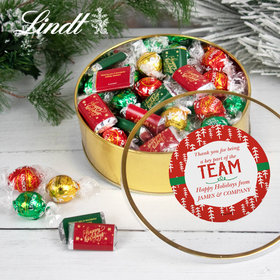 Personalized Thanks for Being Part of the Team Extra-Large Plastic Tin with Approx 1lb Hershey's Miniatures and Lindor Truffles by Lindt