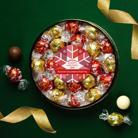 Personalized Christmas Red Snowflake Large Plastic Tin with Lindt Truffles (24pcs)