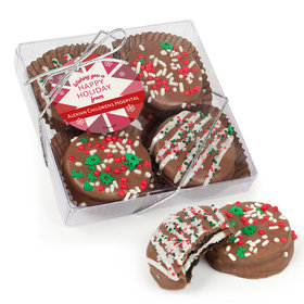 Personalized Christmas Red Snowflake Gourmet Belgian Chocolate Covered Oreos 4pc Gift Box