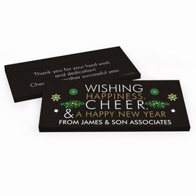Deluxe Personalized Christmas Wishing Happiness, Cheer, and a Happy New Year Chocolate Bar in Gift Box