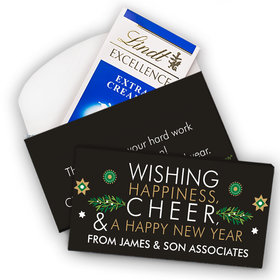 Deluxe Personalized Christmas Wishing Happiness Cheer and a Happy New Year Lindt Chocolate Bar in Gift Box (3.5oz)