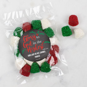 Personalized Christmas Candy Bag with Jingle Bells - Glory to God in the Highest