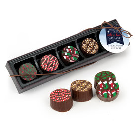 Personalized Christmas Oh Come Let Us Adore Him Gourmet Belgian Chocolate Truffle Gift Box (5 Truffles)