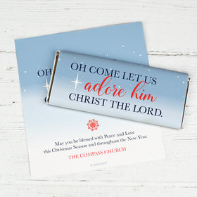 Personalized Christmas Chocolate Bar Wrappers Only - Christmas Oh Come Let Us Adore Him