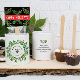Personalized Christmas 11oz Mug with Hot Chocolate Spoon - Holiday Wreath with Logo