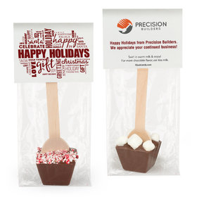 Personalized Happy Holidays Word Cloud with Logo Hot Chocolate Spoon