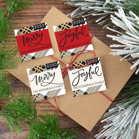 Personalized Joyful Merry Plaid Gift Tags (24 Pack)