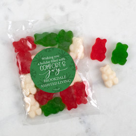 Personalized Christmas Candy Bag with Gummy Bears - Comfort and Joy