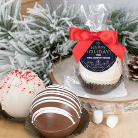 Personalized Christmas Hot Cocoa Bomb - Holiday Deco Blue and Gold