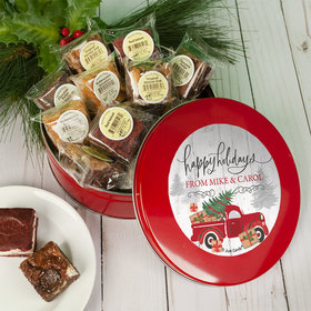 Personalized Christmas Rustic Red Truck Tin with Brownies (approx 16 pcs)